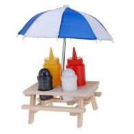 See more information about the Novelty Picnic Bench Condiment Holder With Umbrella