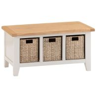 See more information about the Elsing Pine Hall Bench With 3 Basket Drawers