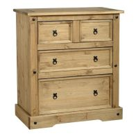 See more information about the Corona Distressed Waxed Pine 4 Drawer Chest (2+2) Furniture