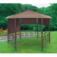 See more information about the Brown Hexagonal Garden Gazebo 3.5m Dia x 2.6m Tall With Roller Blinds