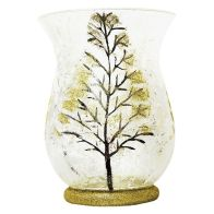See more information about the 20cm Hurricane Candle Holder Gold Coloured Leaf Design