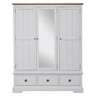 See more information about the Olivia Oak 3 Drawer 3 Door Wardrobe