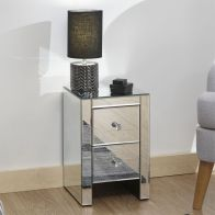 See more information about the Mirrored 2 Drawer Slim Chest Clear Glass