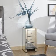 See more information about the Mirrored 3 Drawer Slim Chest Clear Glass