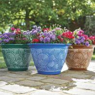 See more information about the Brompton Garden Planters Green, Blue & Brown 3 Pack
