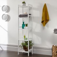See more information about the Bergen 5 Tier Tall Narrow Open Shelving Unit White