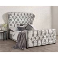 See more information about the Bellagio Velvet Silver 4ft 6in Double Bed Frame