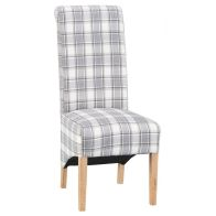 See more information about the Lancelot Scroll Back Fabric Dining Chair Cappuccino Check