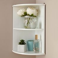 See more information about the Colonial MDF White 2 Shelf Corner Wall Rack
