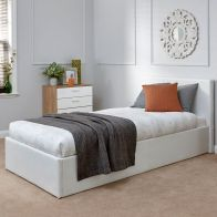 See more information about the Faux Leather Single Bed 3ft White Ottoman Bed Frame