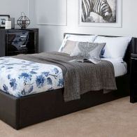 See more information about the Faux Leather Double Bed 4ft 6in Black Ottoman Bed Frame