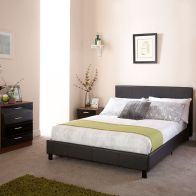 See more information about the Bed In A Box Black Faux Leather Single 3ft Bedstead