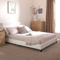 See more information about the Bed In A Box White Faux Leather Single 3ft Bedstead
