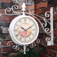 See more information about the 37cm Metal Vintage Double Sided Garden Wall Clock - Cream