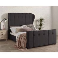 See more information about the Juliette Wing Back Linen Black 4ft 6in Double Bed Frame