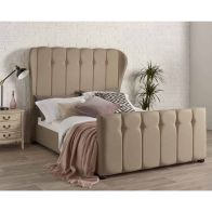 See more information about the Juliette Wing Back Linen Brown 4ft 6in Double Bed Frame