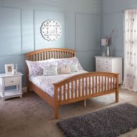 See more information about the Madrid Oak 4ft Queen Size Bed High Foot End Bedstead