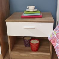 See more information about the Melbourne White & Oak Finish 1 Drawer Bedside Cabinet