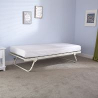 See more information about the Memphis Steel Trundle Bed 3ft White Folding Bed Frame