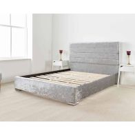 See more information about the Lanata Upholstered Silver 6ft Super King Size Bed Frame