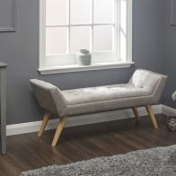 See more information about the Milan Chenille Fabric Silver Upholstered Bench
