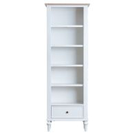 See more information about the Painted Oak Large Narrow 1 Drawer 5 Shelf Bookcase