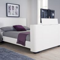 See more information about the Newark Double Bed 4ft 6in White TV Bed Frame