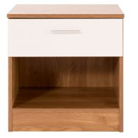 See more information about the Ottawa White Gloss & Oak Finish 1 Drawer Bedside Cabinet