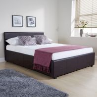 See more information about the Faux Leather 4ft Queen Size Bed Brown Ottoman Bed Frame