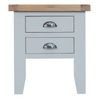 See more information about the Lighthouse Oak Top 2 Drawer Lamp Table - Grey