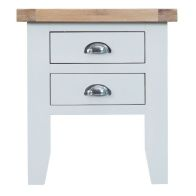See more information about the Lighthouse Oak Top 2 Drawer Lamp Table - White