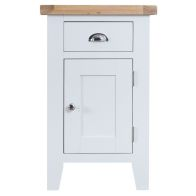 See more information about the Lighthouse Oak Top Small 1 Door 1 Drawer Cupboard - White