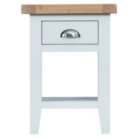See more information about the Lighthouse Oak Top 1 Drawer Side Table - White