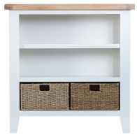 See more information about the Lighthouse Oak Top Small Wide 3 Shelf Bookcase - White