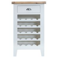 See more information about the Lighthouse Oak Top 1 Drawer Wine Cabinet - White