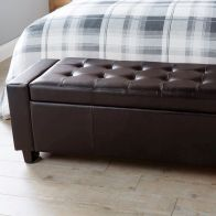 See more information about the Verona Faux Leather Brown Ottoman Bench Blanket Storage Box