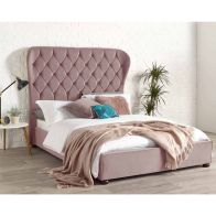 See more information about the Zurich Wing Back Velvet Pink 4ft 6in Double Bed Frame